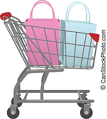 A shopping cart carrying two shopping bags one pink bag one blue bag.