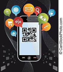 Go social via Smartphone: QR code application on black