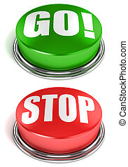 go stop buttons 3d illustration