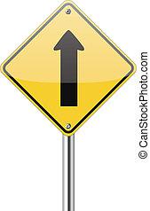go straight traffic sign on white