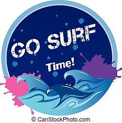 Go Surf Time Wave Circle Frame Background Vector Image