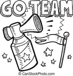 Go team air horn sketch - Doodle style go team announcement...