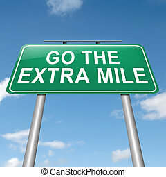 Go the extra mile. - Illustration depicting a roadsign with...