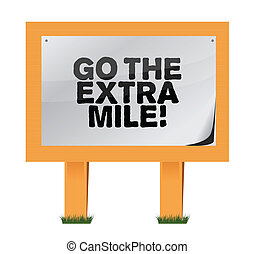 go the extra mile wood sign illustration design over white