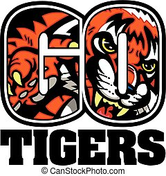 go tigers team design with mascot inside letters