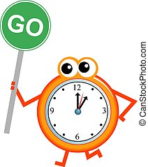 go time - Mr clock man holding a road sign with the message...