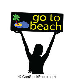 go to beach illustration with girl silhouette