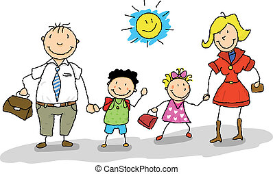 It is the start of the school year, dad and mom take their children to the school.