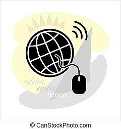 Go To Web, Globe Icon, Cursor Arrow