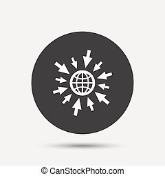 Go to Web icon. Globe with mouse cursors.