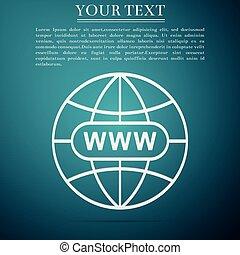 Go To Web icon isolated on blue background. Www icon. Website pictogram. World wide web symbol. Internet symbol for your web site design, logo, app, UI. Flat design. Vector Illustration