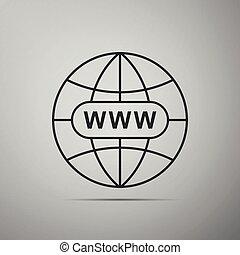 Go To Web icon isolated on grey background. Www icon. Website pictogram. World wide web symbol. Internet symbol for your web site design, logo, app, UI. Flat design. Vector Illustration
