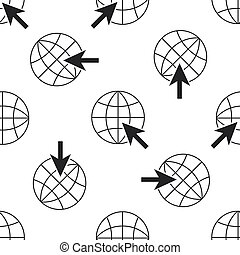 Go To Web icon seamless pattern on white background. Globe and cursor. Website pictogram. World wide web symbol. Internet symbol for your web site design, logo, app. Flat design. Vector Illustration