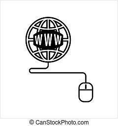 Go To Web, Mouse, Globe Icon,