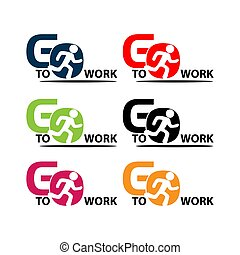 Go to work stock icons. Colorful set icon. label. vector