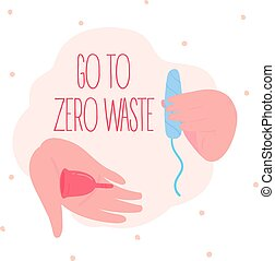 Go to zero waste. Menstrual cup and cotton tampon