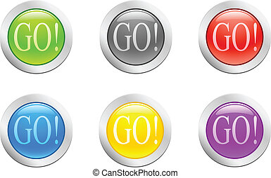 Go. [Vector] - 6 high-detailed buttons. Go. Vector...