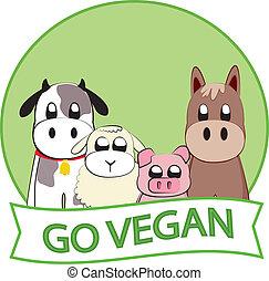 Go vegan slogan with farm animals