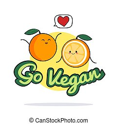 Go vegan poster. Funny orange cartoon characters. Vector illustration
