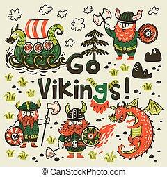 Go vikings motivation card. Cute cartoon characters of vikings, dragon