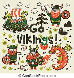 Go vikings motivation card. Cute cartoon characters of...