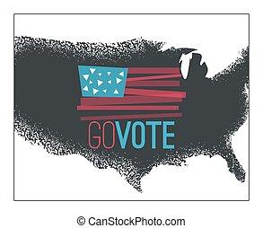 Go vote illustration, primitive flag on dark grundy  US map background for election designs