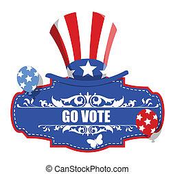 Go Vote - USA Voting Badge vector