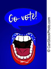 Go vote - vector illustration with sexy woman lips