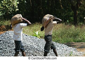 goa, 労働者, インド, 道