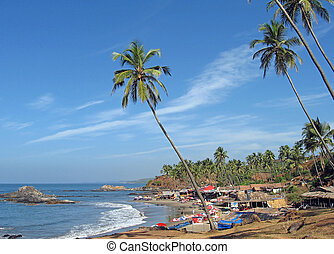 Goa beach landscape with blue sky and palms