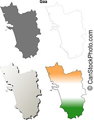Goa blank detailed outline map set