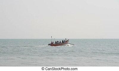Fishing boat in the sea - Goa, India - February 17, 2016:...