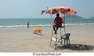 Lifeguard on the Palolem beach - Goa, India - February 17,...