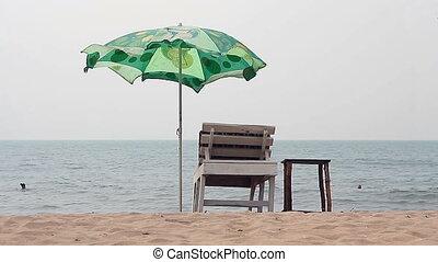 Chair with Umbrella near the Beach - Goa, India %u2013...