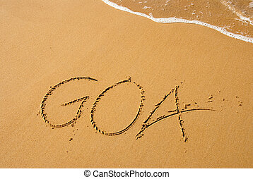"Goa in India is a beautiful beach town. ""Goa\"" written out..."