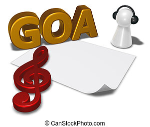 goa tag, blank white paper sheet and pawn with headphones - 3d rendering