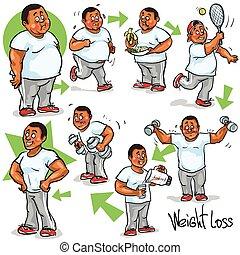 goal., övé, befejezés, weight-loss, ember