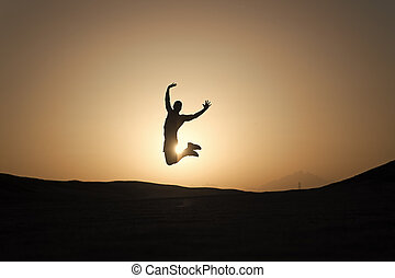 goal., ジャンプ, depends, あなたの, now., シルエット, ゴール, 個人的, 空, バックグラウンド。, 本, motivation., 目的を達しなさい, 前部, 達成, 人, ライフスタイル, 成功, 健康, 毎日, 動き, 未来, 日没, 努力