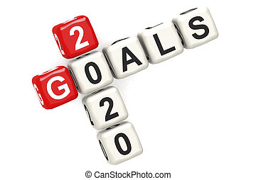 Goal 2020 word concept on cube block isolated
