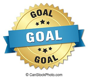 goal 3d gold badge with blue ribbon