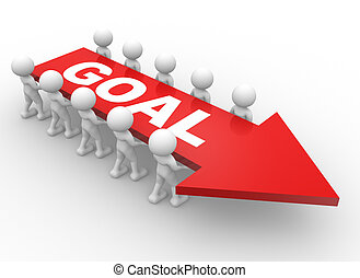 """3d people - men, person with a arrow and text """" goal """". Businessman. Teamwork."""