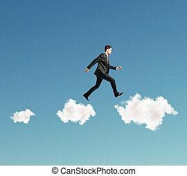goal achievement concept with businessman