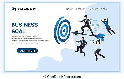 goal., affari, appartamento, pagina, web, vettore, template., illustrazione, atterraggio, usato, ottenere, standing, infographics, lattina, uomo affari, bandiera, freccetta, concept.