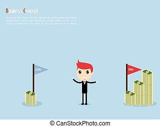 Goal and Risk Businessman Concept, vector illustration