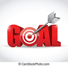 goal and target and dart illustration design over a white ...