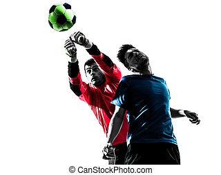 goal, balle, silhouette, hommes, isolé, concurrence, deux, joueur, fond, frapper, blanc, football, titre, caucasien