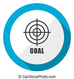Goal blue flat design web icon