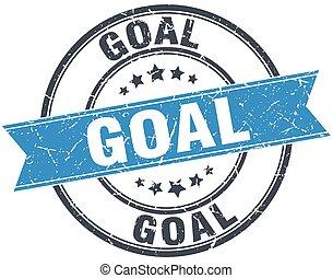goal blue round grunge vintage ribbon stamp