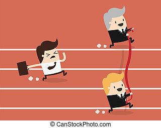 Businessman reaching the finishing line