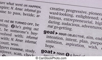 Goal circled with highlighter in the dictionary